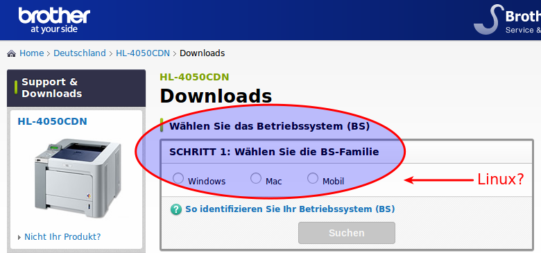 Screenshot der Treiber-Download-Website (brother.com)