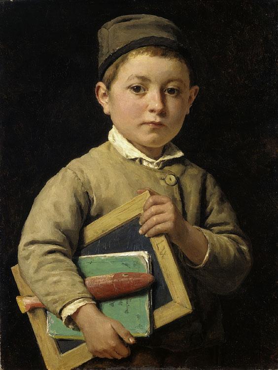 """Gemälde """"Schulknabe"""" aus dem Jahr 1881 von Albert Anker (1831 - 1910)"""